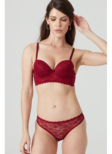Pierre Cardin Regular Dantelli Sütyen Takım Soft Push Up Bordo
